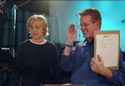 Ellen Degeneres and Director Andrew Stanton
